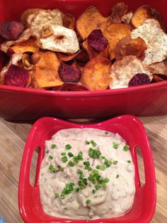 One of my fondest food memories of barbecues and family gatherings as a kid was the onion dip and chips.  I was that easy to please.  It was hard to believe that one pack of dried onion soup and sour cream could make such an incredible taste.  This is my adult, healthier, homemade version of...