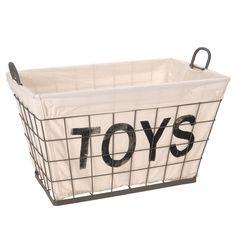 Metalen Mand met Textiel 'Toys'