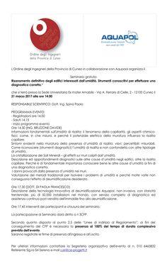 """L'Ordine degli Ingegneri della Provincia di Cuneo in collaborazione con Aquapol organizza il Seminario gratuito: """"Risanamento definitivo degli edifici interessati dall'umidità. Strumenti conoscitivi per effettuare una diagnostica corretta""""."""