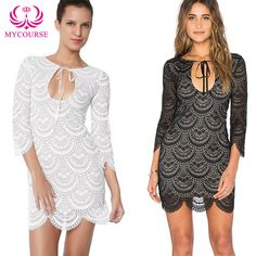 Find More Dresses Information about MYCOURSE Sexy Dress Fish scales Stylish Scoop Collar 3/4 Sleeve Solid Color Women's Lace Dress Slim Package Hip Mini Dress Women,High Quality dress hell,China dress kawaii Suppliers, Cheap dress shose from MYCOURSE on Aliexpress.com
