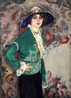 A Portrait of a Lady With a Hat by Jan Sluijters (1881-1957), Dutch - was a leading pioneer of various post-impressionist movements in the Netherlands, finally settling on a colorful expressionism. (wiki) (posted by bofransson)