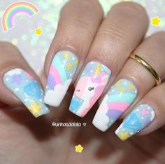 Our obsession with unicorn everything is never running out! Whether you want to go all out and emboss an actual unicorn horn onto your nail or simply embrace these unicorn-inspired shades from Nails Inc we think it's definitely a nail trend to try! Trendy Nail Art, Cute Nail Art, Nail Art Diy, Unicorn Nails Designs, Unicorn Nail Art, Nails For Kids, Girls Nails, Love Nails, Fun Nails