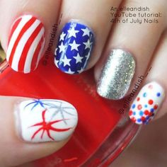 This nail art features the 4th of July colors of red, white, and blue. Watch the video tutorial here and learn how to do this nail art.