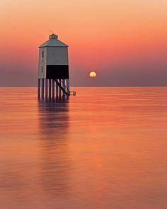 lighthouse in the sunset, Burnham-on-Sea, Somerset, England, UK