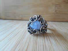 Sterling Silver Owyhee Blue Opal Ring Wire Wrapped by OurFrontYard