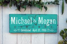 Family Established Signs First Name Last Name by RusticaHomeDecor