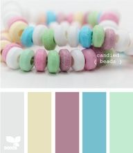 Color Palette: Candied Beads. My bedroom walls are the same purple/mauve hue. I love the bursts of  mint and turquoise as accent colors, subdued just a bit by the light gray and parchment.