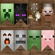 Minecraft Faces Banner  Minecraft Birthday by LittleMsShutterbug, $8.00