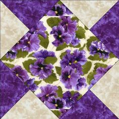 Debbie Beaves Lovely Purple Cream Lavender Floral Pansy Fabric Quilt Block Kit
