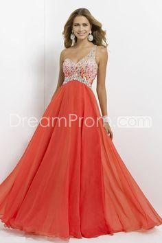 2014 Hot Long One Shoulder A-Line Chiffon Prom Dresses