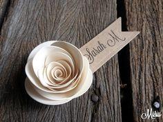 20 Handmade Rose Place Cards