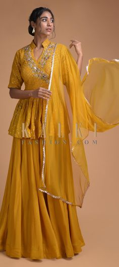Mustard Yellow Palazzo Suit With Peplum Top With Floral Embroidery Online - Kalki Fashion Wedding Lehenga Designs, Designer Bridal Lehenga, Kurti Designs Party Wear, Indian Designer Outfits, Indian Outfits, Designer Dresses, Designer Wear, Indian Gowns Dresses, Pakistani Dresses