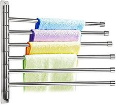 Amazon.com: Sumnacon Wall Mounted Swing Towel Bar - Silver Stainless Steel Bath Towel Rod Arm, Bathroom/Kitchen Swivel Towel Rack Hanger Holder Organizer, Folding Space Saver Towel Rail (6 Bar): Home & Kitchen
