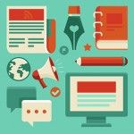Vector concept in flat style with trendy icons - blogging and writing for website