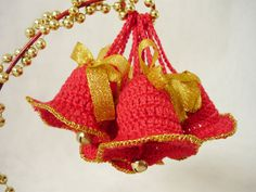 Mini crochet Christmas bells,Tree ornament,Holiday decorations,Holiday ornaments by MariAnnieArt on Etsy #MariAndAnnieArt #Crochet #Christmas #Ornaments #Christmastree