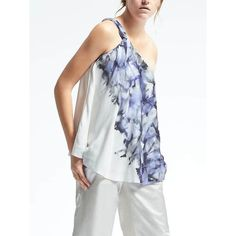 Banana Republic Womens Piece & Co. One Shoulder Sun Dyed Silk Top (1 685 ZAR) ❤ liked on Polyvore featuring tops, blue, silk top, white strappy top, patterned tops, blue print top and fitted tops