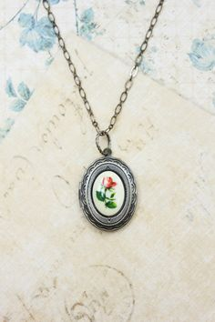 Silver Locket Necklace Red Rose Cameo Pendant by apocketofposies, $32.00