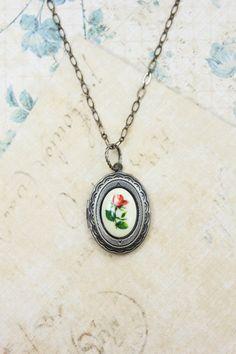 Silver Locket Necklace, Red Rose Cameo Pendant, Vintage Style Photo Locket, Picture Locket, Grey Gunmetal Long Necklace, Secret Hiding Place...