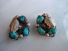 Vintage Zuni silver coral Simplicio clip earrings