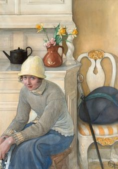 Carl Larsson ~ Girl with Ice Skates, Interior from the School Household, Falun, 1917