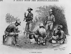 1888: A contingent of African Americans or 'buffalo soldiers' of the US army make camp around a small fire during a scouting mission. Original Artwork: Drawing by Frederic Remington. (Photo by MPI/Getty Images)