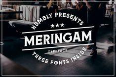Meringam (Font) by Arterfak Project · Creative Fabrica Hipster Design, Freelance Graphic Design, Graphic Art, Typography, Lettering, Badge Design, Script Type, Vintage Labels