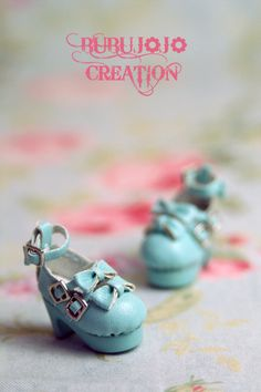 Could use as Charm/Pendant on ribbon necklace. BUBUJOJO CREATION blythe sweet lolita shoes blue by BUBUJOJO, $22.70