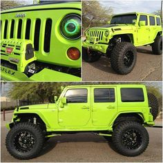 My kind of headlights:) my jeep is this color except I have a black top and fender flares and mirrors and door handles ! Green Jeep Wrangler, Jeep Rubicon, Jeep Wrangler Unlimited, Jeep Wrangler Lifted, Lifted Jeeps, Lifted Ford, Auto Jeep, Lime Green Jeep, Jeep Truck