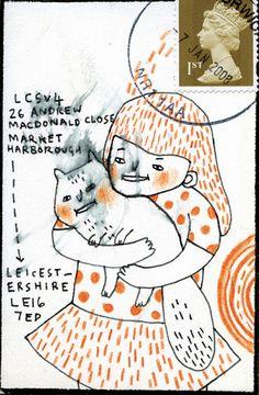 Illustrated Envelope I 2008 Love Mail, Fun Mail, Calligraphy Envelope, Envelope Art, Diy Postcard, Mail Art Envelopes, Snail Mail Pen Pals, Letter Art, Letter Writing