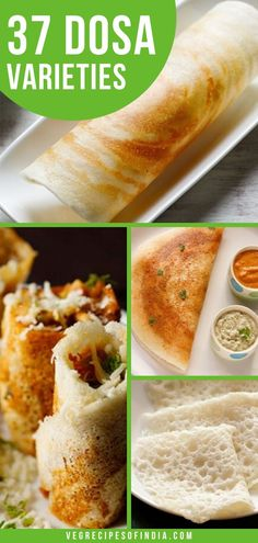 There are many types of dosa recipes, such as masala dosa, rava dosa. In this post we not only have those types of dosa, but we also have 35 other dosa varieties that you can try! Indian Snacks, Indian Food Recipes, Cooking Dishes, Cooking Recipes, Cooking Tips, Indian Dosa Recipe, Masala Dosa Recipe, Breakfast Recipes, Snack Recipes