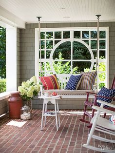 Many covered patios are wide open to the landscape, which establishes a connection to a yard. But if a little privacy would help enhance the space, consider this DIY idea: Add a trellis or other decorative structure to one of the openings. Here, the installation of a trellis window offers a backdrop for a conversation nook and a screening from the neighbors.