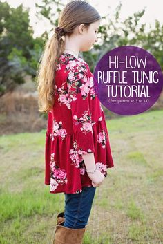 Sewing Top How to sew a high low top: High-Low Ruffle Tunic (free pattern, girls size 3 to Tunic Sewing Patterns, Tunic Pattern, Clothing Patterns, Free Pattern, Pants Pattern, Dress Patterns, Kids Patterns, Pattern Sewing, Top Pattern
