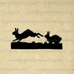 Printable Image Rabbits Silhouette.