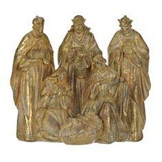 Golden Antique Nativity Scene