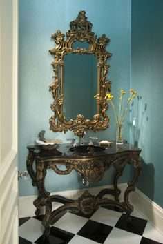 eclectic powder room by John Kraemer & Sons Custom Home Builders, Custom Homes, Powder Room Design, Eclectic Bathroom, Teal Walls, Tuscan House, Home Accessories, Interior Design, Interior Decorating