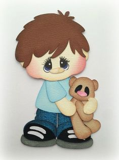 boy with teddy bear premade paper piecing die cut for scrapbooks cards planner project life by my tear bears kira Scrapbook Images, Scrapbook Borders, Scrapbook Embellishments, Scrapbook Cards, Doll Crafts, Paper Crafts, Cute Baby Dolls, Cute Paintings, Felt Quiet Books
