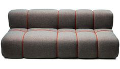 With the classic chesterfield sofa in mind, RUM.station has designed a new welcoming and voluminous sofa padded with a new wool fabric Craggan Plus from Camira Fabrics.The shape of the sofa is made by tying a rope around it. Funky Furniture, Sofa Furniture, Custom Furniture, Furniture Design, Lounge Sofa, Sofa Chair, Sofa Set, Modern Sofa Designs, Canapé Design