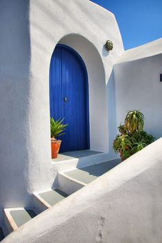Blue door in Oia, Santorini, Greece