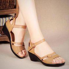 b54fff10745db3 Elegant Genuine Leather Women s Sandals Wedges Online