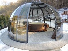 Incredible Suitable Outdoor Hot Tub Enclosures On Budget IdeasYou can find Hot tubs and more on our website.Incredible Suitable Outdoor Hot Tub Enclosures On Budget Ideas Bubble Tent, Tub Enclosures, Hot Tub Garden, Dome House, Geodesic Dome, Outdoor Living, Outdoor Decor, Outdoor Ideas, Winter Garden