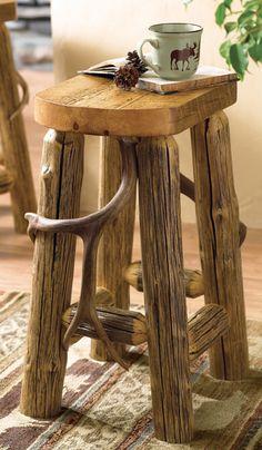 Antler Log Bar Stool - 24 Inch