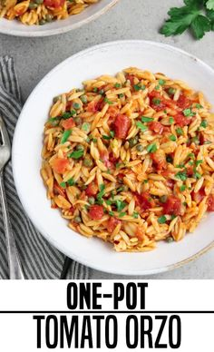 This easy One-Pot Basil and Tomato Orzo Recipe is perfect for busy weeknight meals. It& flavorful, satisfying, and it& ready in 30 minutes or less! Easy Vegan Dinner, Vegan Dinner Recipes, Vegan Dinners, Veggie Recipes, Pasta Recipes, Beef Recipes, Whole Food Recipes, Vegetarian Recipes, Cooking Recipes