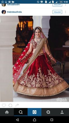 """Check out look 2 as we pick some the """"Red Bride"""" looks we're digging - here's that deep deep red lehenga. Love how the cream dupatta which adds a dash of modern to a traditional look. Shot by by Designer Bridal Lehenga, Indian Bridal Lehenga, Indian Bridal Outfits, Indian Bridal Wear, Lehenga Saree, Indian Dresses, Bridal Dresses, Anarkali, Saree Dress"""