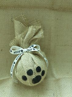 Natural Burlap Pet Paw Ornament by DoodleDogBoutique on Etsy, $10.00