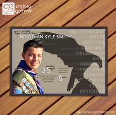 Eagle Scout Court of Honor Invitation Card Boy Scout Invite