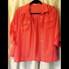 Coral Button Down Blouse With Button Detail Good condition. Semi Sheer Tops Button Down Shirts