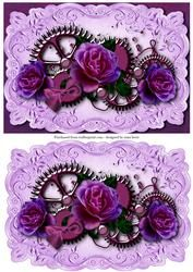 Steampunk Cogs & Purple Roses + Extra Plaque