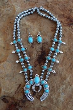 COWGIRL Bling Southwest Turquoise SQUASH BLOSSOM Western Gypsy NECKLACE SET #TRUE