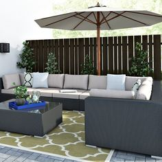 Sol 72 Outdoor This sofa set consists of a side table and seven armchairs. The cushions invite you to sit back and relax. This rattan sofa set will make your garden or terrace look more inviting than you ever expected. Corner Sofa With Cushions, 5 Seater Corner Sofa, Rattan Corner Sofa Set, Garden Sofa Set, Garden Furniture Sets, Rattan Furniture, Sofa Set Online, Chair Cushion Covers, Lounge