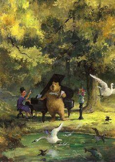 Music Soothes The Savage Breast: Rudi Hurzlmeier. Bear Art, Animal Art, Rudi Hurzlmeier, Fantasy Art, Drawing Illustrations, Whimsical Art, Illustration Art, Bunny Art, Animal Illustration